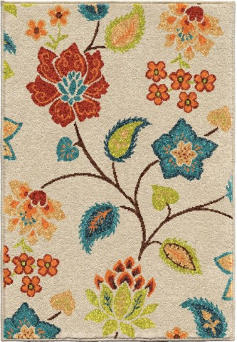 Orian Rugs Indoor/Outdoor Floral Full Bloom Ivory Area Large Rug