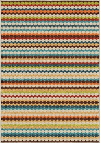 Orian Rugs Indoor/Outdoor Stripes Connect The Dots Multi Area Medium Rug