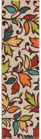Orian Rugs Indoor/Outdoor Leaves Despeinada Ivory Runner Rug