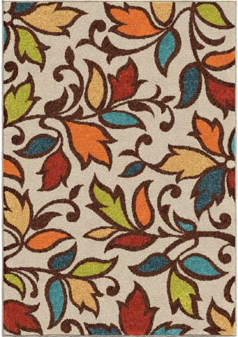 Orian Rugs Indoor/Outdoor Leaves Despeinada Ivory Area Medium Rug