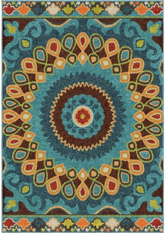 Orian Rugs Indoor/Outdoor Shapes Indo-China Multi Area Small Rug