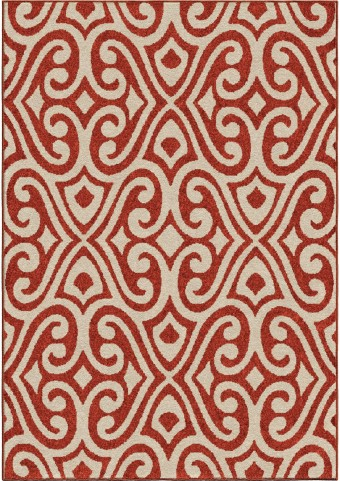 Orian Rugs Indoor/Outdoor Damask Scroll Santee Red Area Small Rug