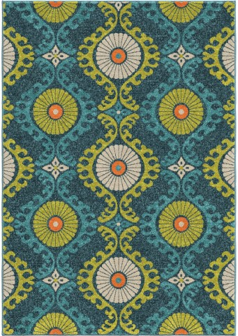 Orian Rugs Indoor/Outdoor Scroll Medallion Kokand Blue Area Large Rug