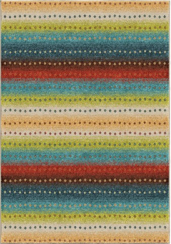 Orian Rugs Indoor/Outdoor Stripes Le-mans Multi Area Small Rug