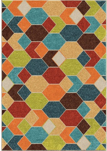 Veranda Indoor/Outdoor Diamonds Struck Multi Small Area Rug