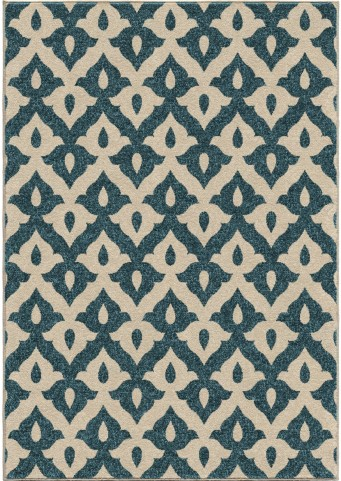 Orian Rugs Indoor/Outdoor Shapes Tribal Trellis Blue Area Small Rug