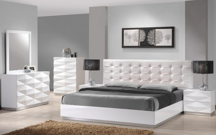 Verona White Lacquer Youth Platform Bedroom Set