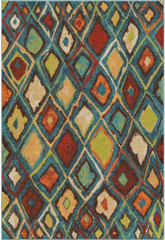 Orian Rugs Bright Color Diamonds Nablis Blue Area Large Rug