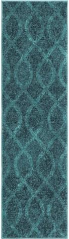 Orian Rugs Bright Color Geometric Geo Loop Blue Runner Rug