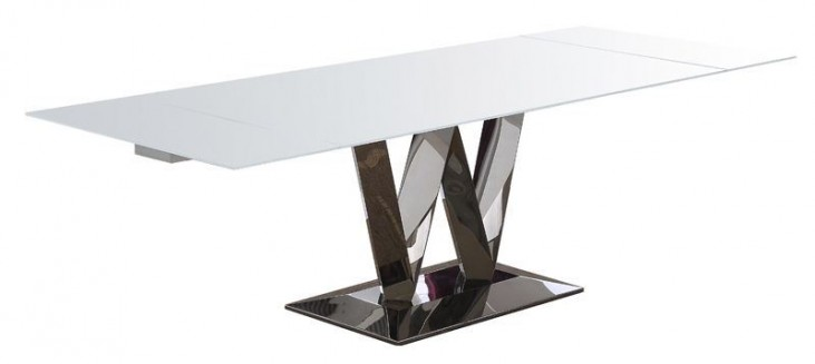 Vicky White gloss Extendable Rectangular Dining Table