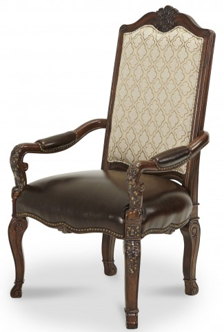 Victoria Palace Fabric Back Arm Chair with Leather Seat
