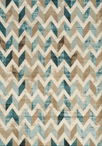 Villa Blue/Brown/Cream Chevron Floor Cloth Large Rug