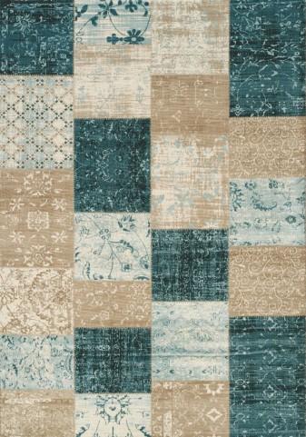 Villa Blue/Beige Patchwork Floor Cloth Large Rug