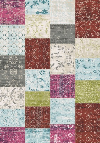 Villa Multi Patchwork Floor Cloth Large Rug