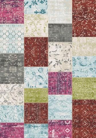 Villa Multi Patchwork Floor Cloth Medium Rug