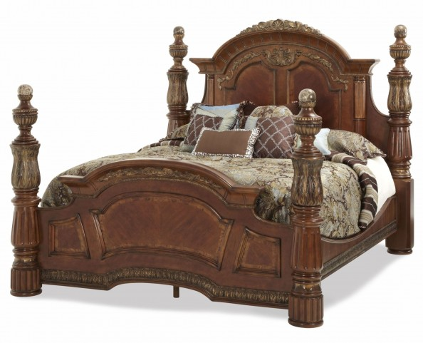 Villa Valencia Grande Marble King Low Poster Bed