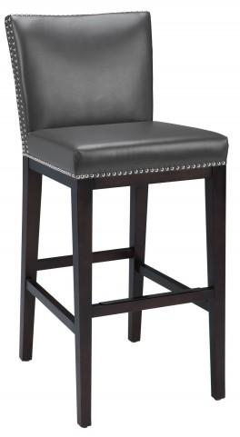 Vintage Leather Grey Barstool