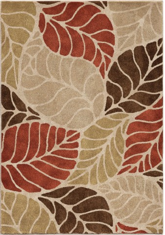 Orian Rugs Insanely Soft Leaves Palm Overlay Beige Area Large Rug