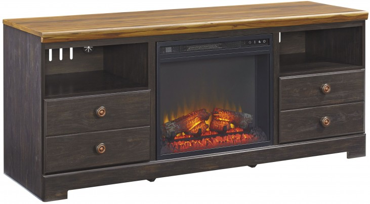Maxington Two-tone LG TV Stand with Fireplace Insert
