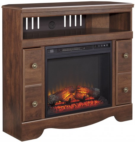 Brittberg Reddish Brown Corner TV Stand with Fireplace Insert