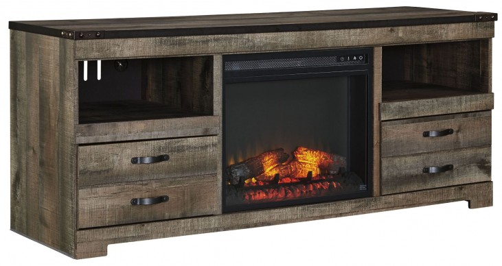Trinell Brown LG TV Stand With Fireplace Insert