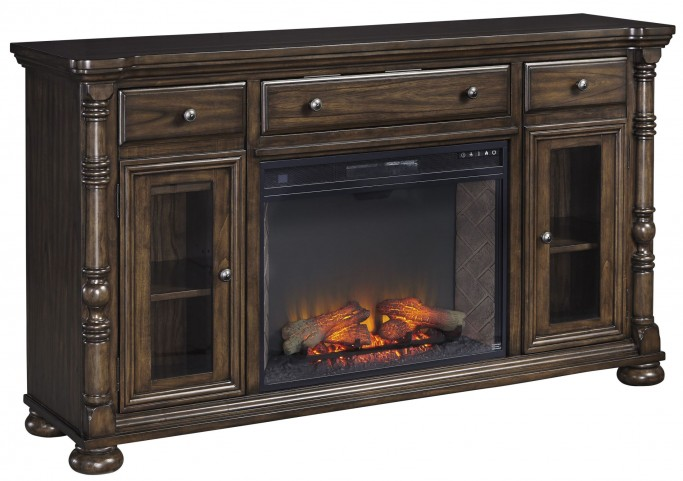 Brosana Grayish Brown Xl TV Stand With LG Infrared Fireplace Insert