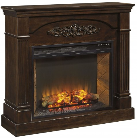 Boddew Dark Brown Fireplace Mantel