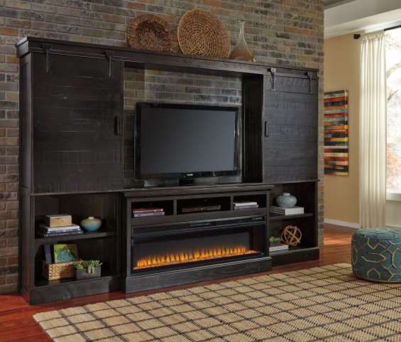 Sharlowe Entertainment Center With Wide Fireplace Insert