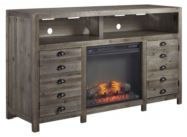 Keeblen Grayish Brown TV Stand With Fireplace Insert