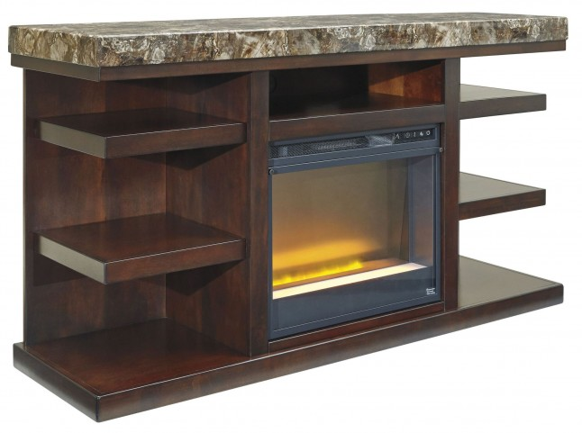 Kraleene LG TV Stand With Glass/Stone Fireplace Insert