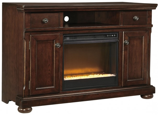 Porter TV Stand With Glass/Stone Fireplace Insert