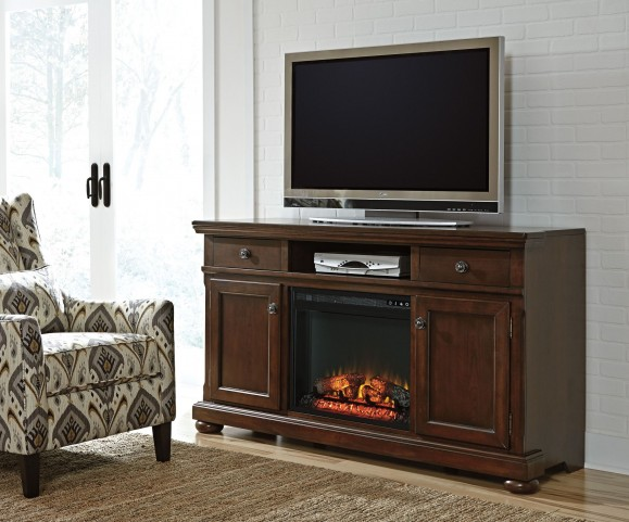 Porter Burnished brown Large TV Stand With Fireplace Insert