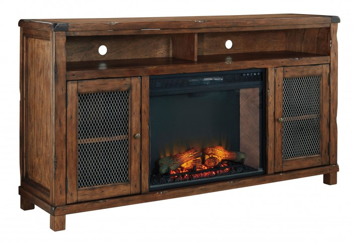 Tamonie Rustic Brown Extra Large TV Stand With LG Infrared Fireplace Insert