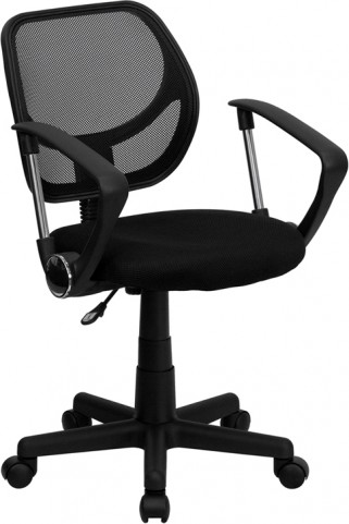 Mid-Back Black Task Chair and Computer Chair with Arms