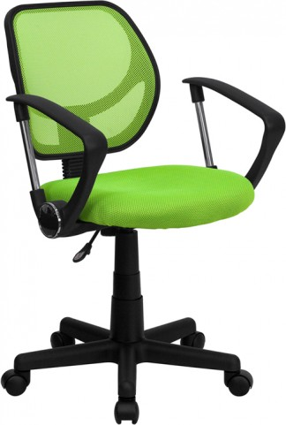 Mid-Back Green Task Chair and Computer Chair with Arms