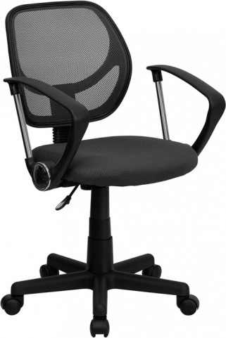 Mid-Back Gray Task Chair and Computer Chair with Arms