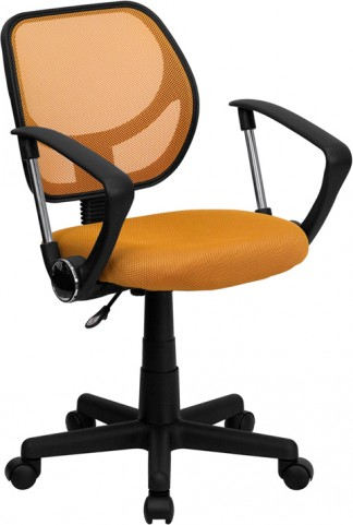 Mid-Back Orange Task Chair and Computer Chair with Arms