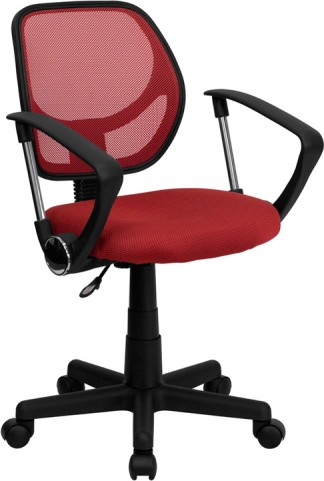 Mid-Back Red Task Chair and Computer Chair with Arms