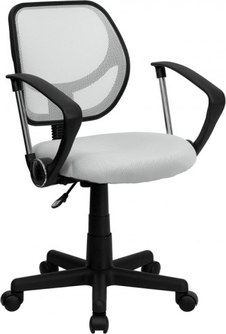 Mid-Back White Task Chair and Computer Chair with Arms