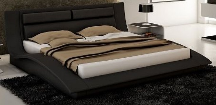 Wave Black King Platform Bed