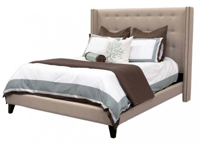 Weston Espresso Oatmeal Linen Queen Platform Bed
