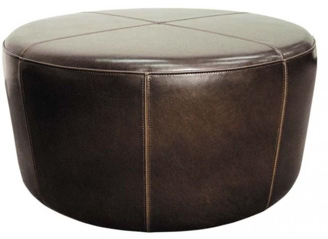 Wheel Mocha Leather Ottoman