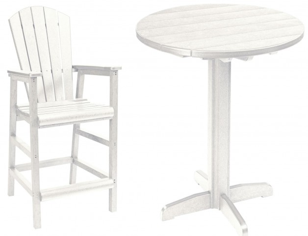 "Generations White 37"" Round Pedestal Pub Set"