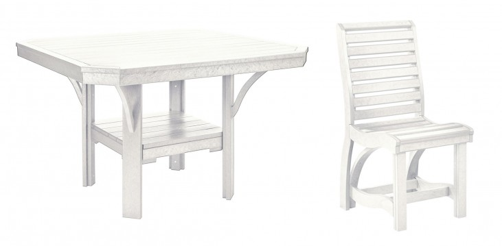 "St Tropez White 45"" Square Dining Room Set"