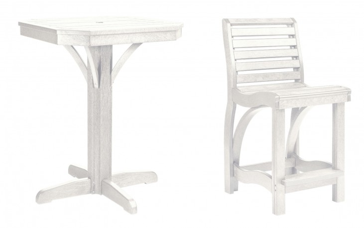 "St Tropez White 28"" Square Counter Pedestal Dining Room Set"