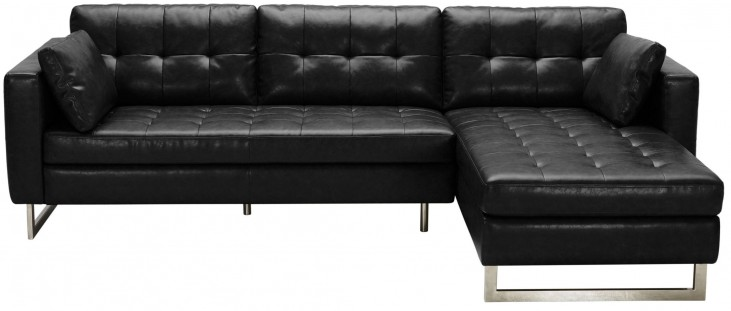 Wilson Black Fog Leather Sofa Chaise