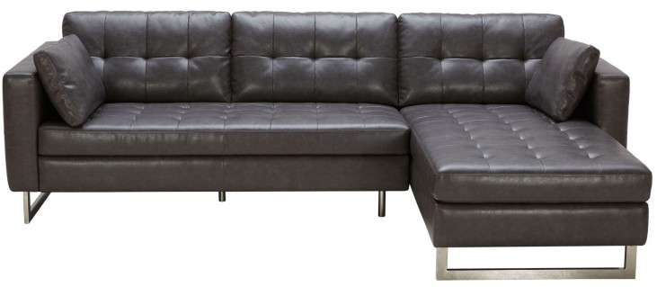 Wilson Ash Grey Leather Sofa Chaise