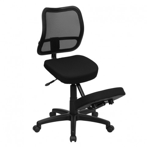 Black Fabric Ergonomic Kneeling Chair with Back