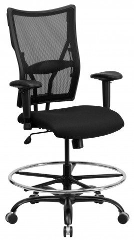 10001478 HERCULES Big & Tall Black Arm Drafting Stool