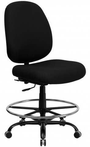 HERCULES Big and Tall Black Fabric Drafting Stool